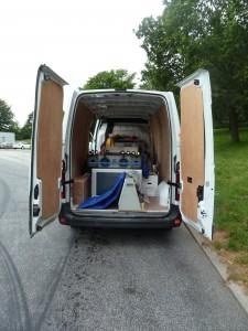 Open back of van